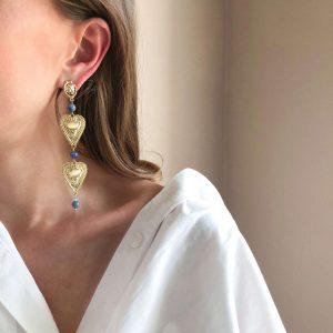 Brass ear stud, 925 sterling silver pin, natural Jade, heart – alloy, for pierced ears