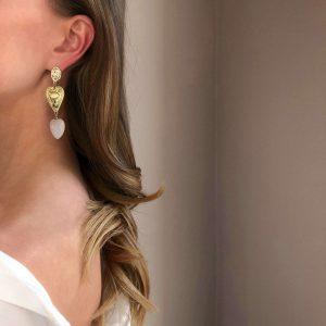 Brass ear stud, 925 sterling silver pin, heart – quartz, heart – alloy, for pierced ears