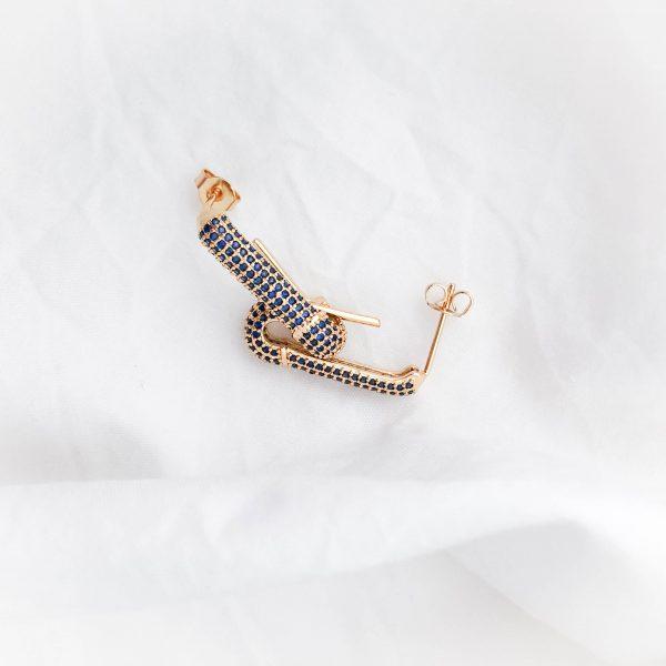 Brass ear stud with cubic zirconia, for pierced ears