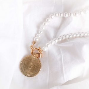 Shell pearl, chain, coin, clasp — stainless steel 304