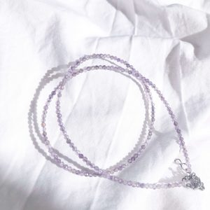 Natural amethyst, chain, clasp — stainless steel 304