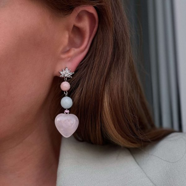 Brass ear stud, heart – quartz, natural morganite, for pierced ears.