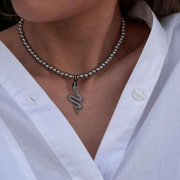 Snake – brass with cubic zirconia, beads – stainless steel 304, chain, clasp – stainless steel 304