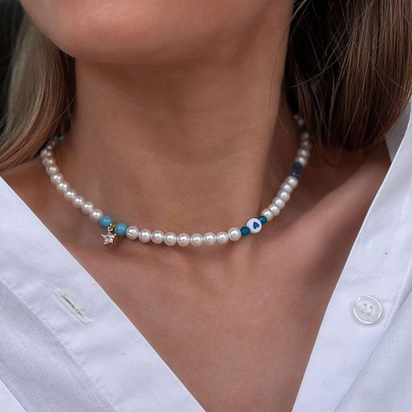Cubic zirconiа, shell pearl, glass beads, chain, clasp – stainless steel 304