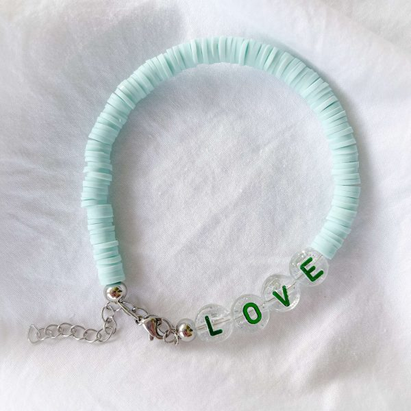 Environmental polymer clay beads, letter – acrylic, chain, clasp – stainless steel 304.