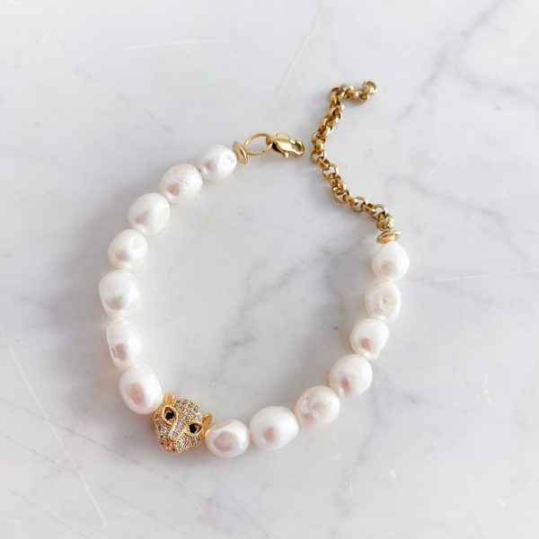 Freshwater pearl, shell — brass with real gold plated, chain, clasp — stainless steel 304.