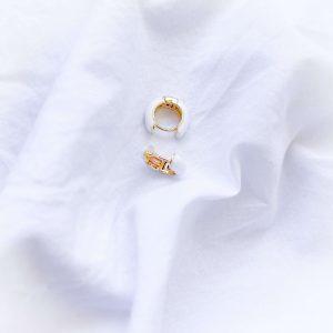 Brass ear stud with real gold 18k plated, enamel, for pierced ears