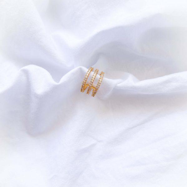 Cuff – brass with cubic zirconia.