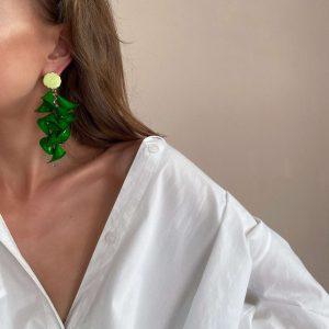 Alloy ear stud with enamel, flower — acrylic, glass beads, for pierced ears.