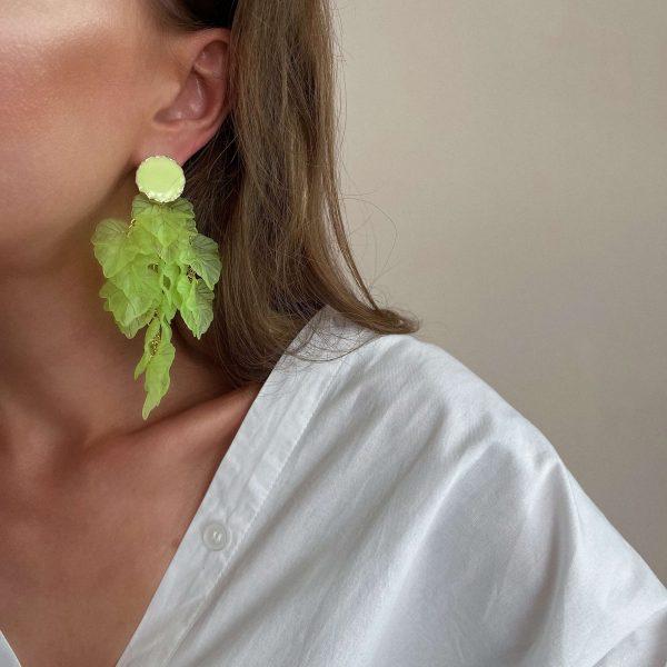 Alloy ear stud with enamel, leaves — acrylic, glass beads, for pierced ears.
