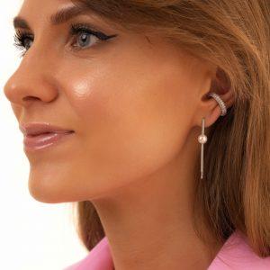 Brass ear stud with cubic zirconia, 925 sterling silver pin, for pierced ears.