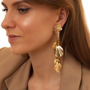 Alloy ear stud, with steel pins spiral shell, pendant — brass with long – lasting plated, for pierced ears.