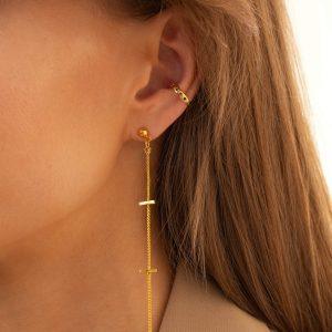 Brass ear stud, brass chain, for pierced ears.