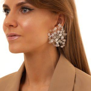 Alloy ear stud, glass beads, for pierced ears