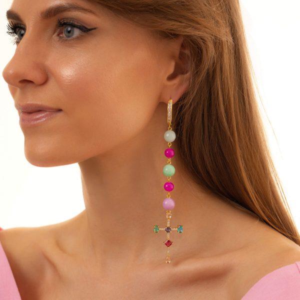 Brass ear stud with cubic zirconia, Jade, glass beads, for pierced ears