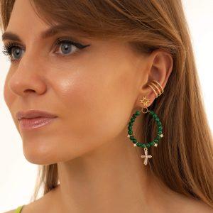 Brass ear stud, cross – brass with cubic zirconia, Malachite, for pierced ears