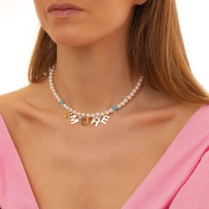 Cubic zirconiа, shell pearl, letters, chain, clasp — stainless steel 304.