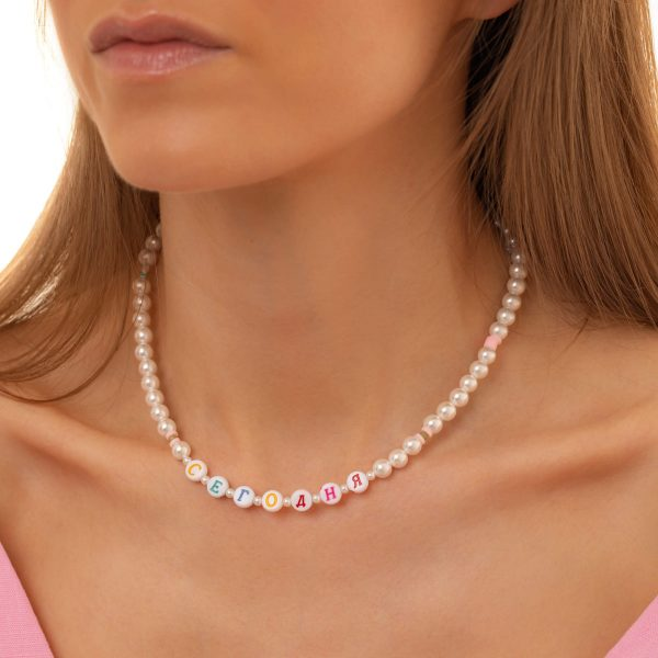 Shell pearl, letter – acrylic, chain, clasp – stainless steel 304.