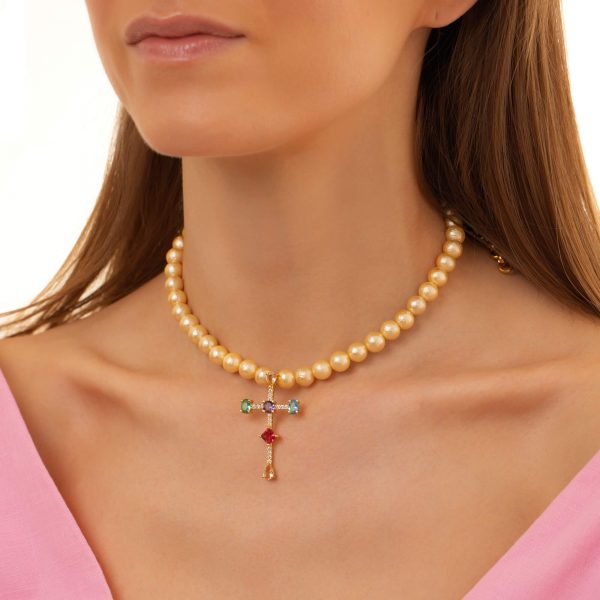 Textured shell pearl, cross – brass with cubic zirconia, chain, clasp — stainless steel 304