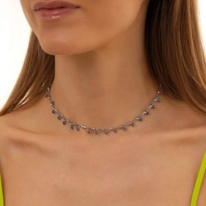 Cubic zirconiа, chain, clasp — stainless steel 304