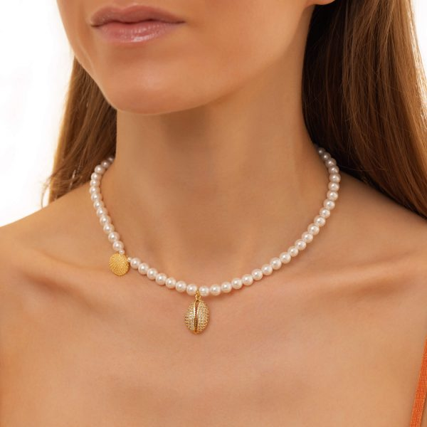 Shell – brass withcubic zirconia, shell pearl, chain, clasp – stainless steel 304