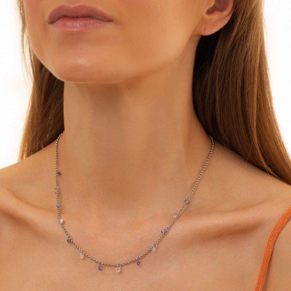 Сubic zirconiа, chain, clasp — stainless steel 304.
