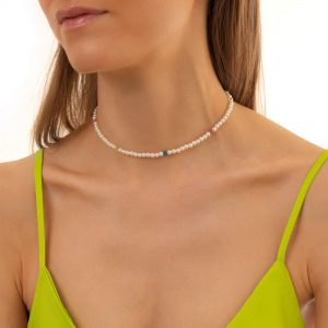 Shell pearl, glass beads, chain, clasp – stainless steel 304