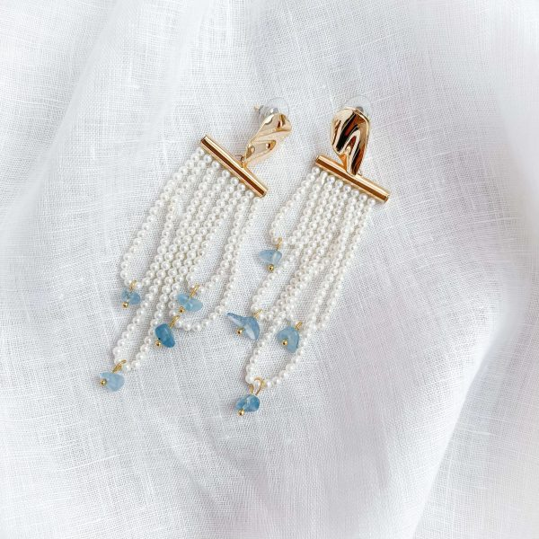 Brass ear stud with gold plated, shell pearl, natural aquamarine, for pierced ears