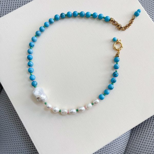 Howlite, glass beads, freshwater pearl, natural keshi pearl, chain, clasp – stainless steel 304.