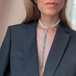 Shell pearl, chain rhinestone strass with stainless steel 304, chain, clasp — stainless steel 304