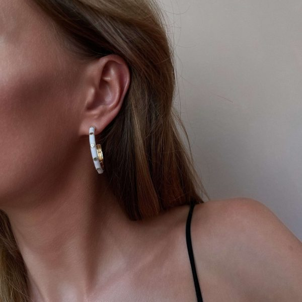 Brass with cubic zirconia, for pierced ears