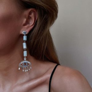 Eye – brass with cubic zirconia, long – lasting plated, natural aquamarine, for pierced ears.